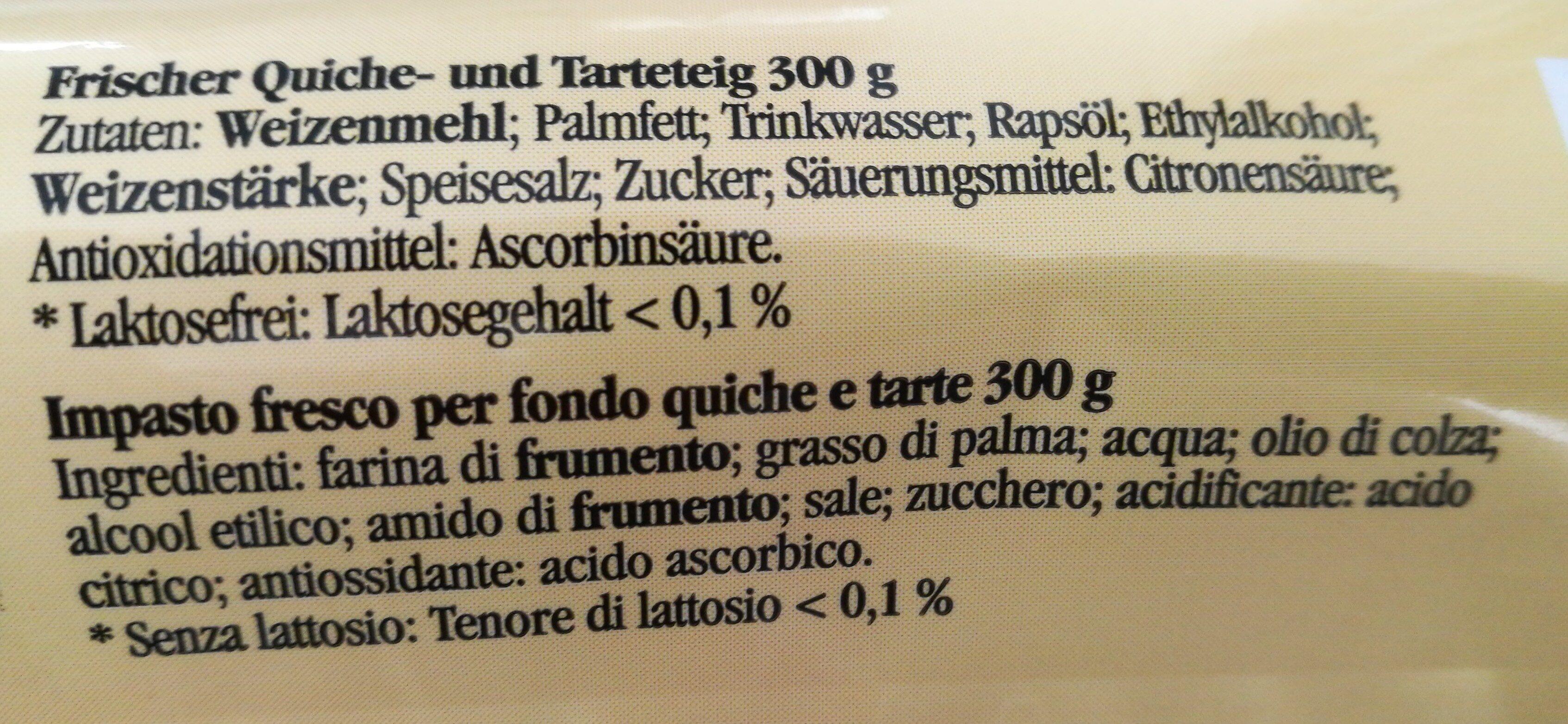 Frischer Quiche- & Tarteteig - Ingrédients - de