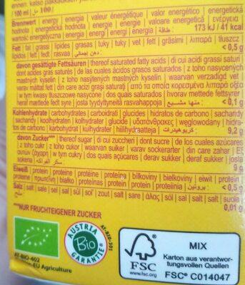 Bio multi sunrise - Informação nutricional - pt