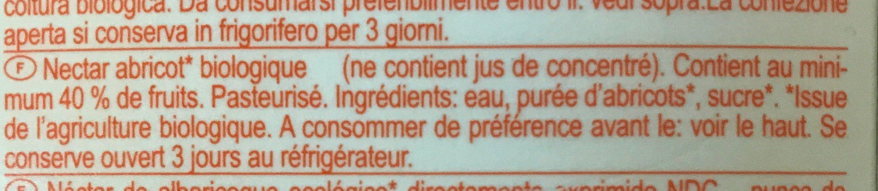 Nectar Abricot Tetra - Ingredients