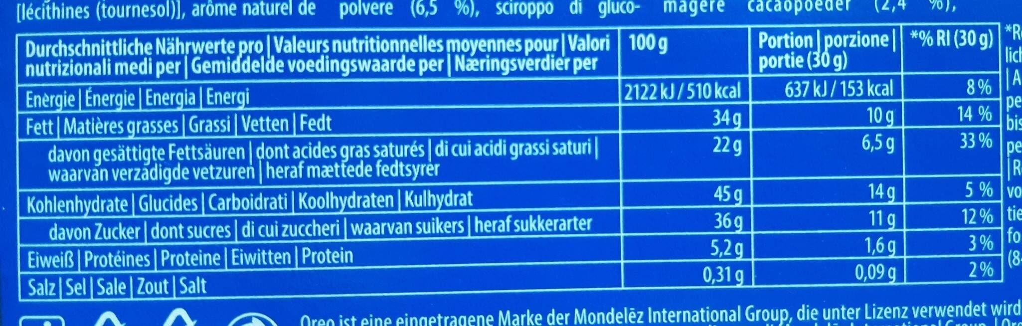OREO Fresh Milk-Snack - Nährwertangaben - fr