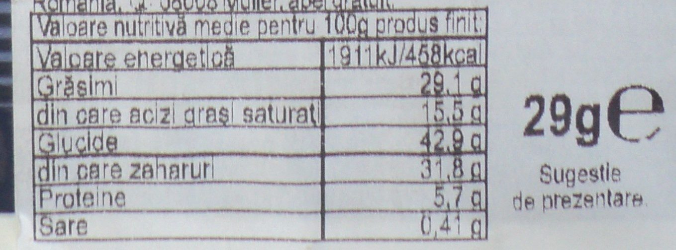Muller Baton pufos cu umplutura de ciocolata - Informations nutritionnelles