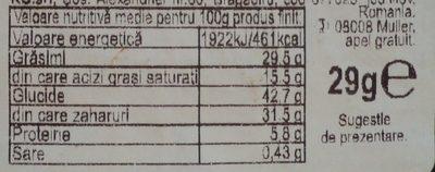 Muller Baton pufos cu umplutura de alune de padure - Wartości odżywcze