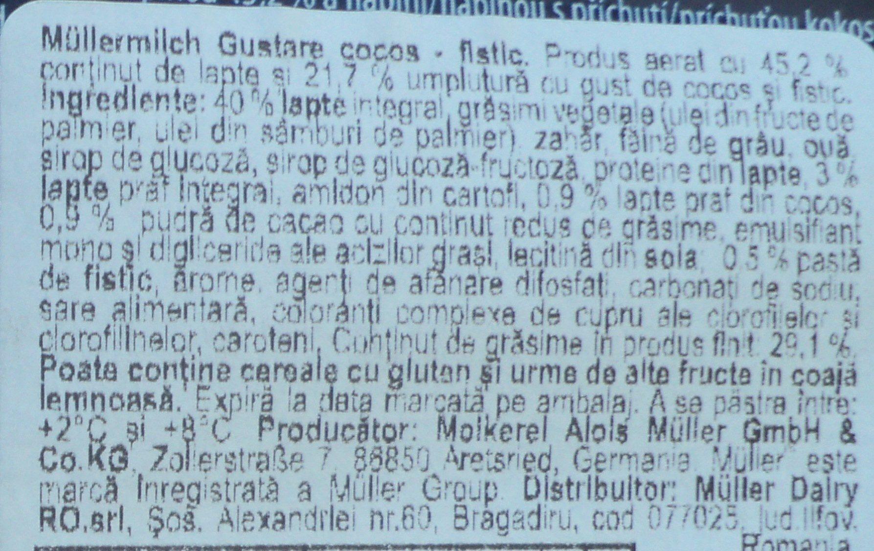 Muller Baton pufos cu umplutura de nuca de cocos si fistic - Składniki