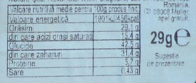 Muller Baton pufos cu umplutura de nuca de cocos si fistic - Wartości odżywcze