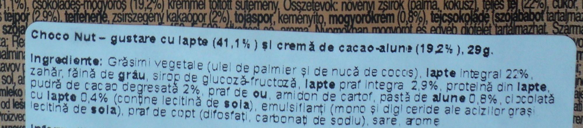 Choco Nut Snack cu lapte si crema de cacao-alune - Ingrédients