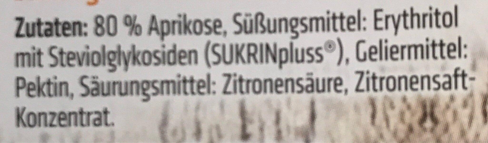 Sukrin Fruchtaufstrich, 80% Frucht, Aprikose, 2 X - Ingrédients - fr