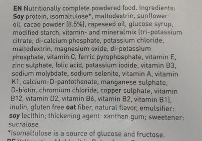Saturo Chocolate Powder v3.0 - Ingrédients - en