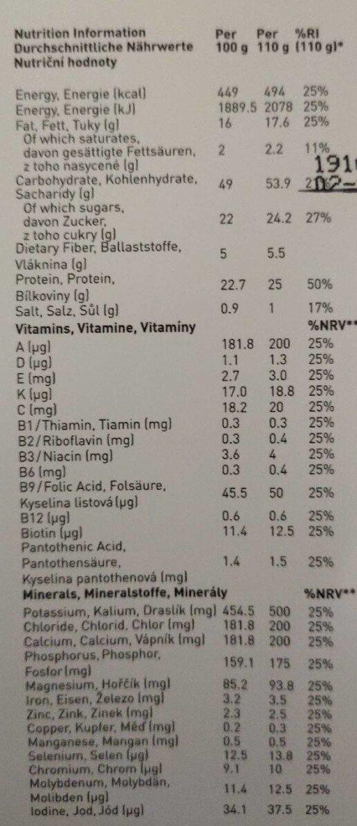 Saturo Chocolate Powder v3.0 - Nährwertangaben - en
