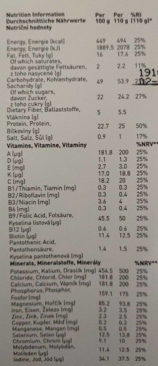 Saturo Chocolate Powder v3.0 - Informations nutritionnelles - fr
