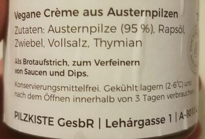 Pilzkiste Premium Austernpilzcreme - Ingredients