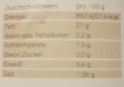 Pilzkiste Premium Austernpilzcreme - Nutrition facts