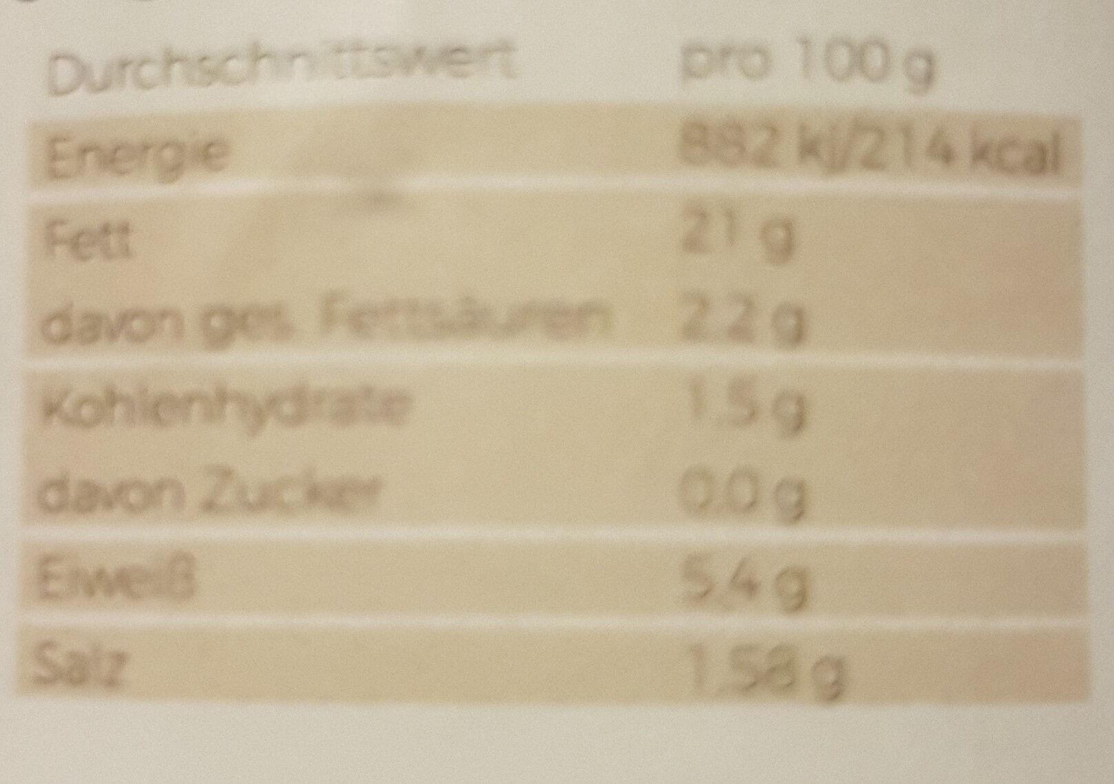 Pilzkiste Premium Austernpilzcreme - Voedingswaarden - de