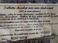 Tablette chocolat noir avec édulcorant - Ingredients