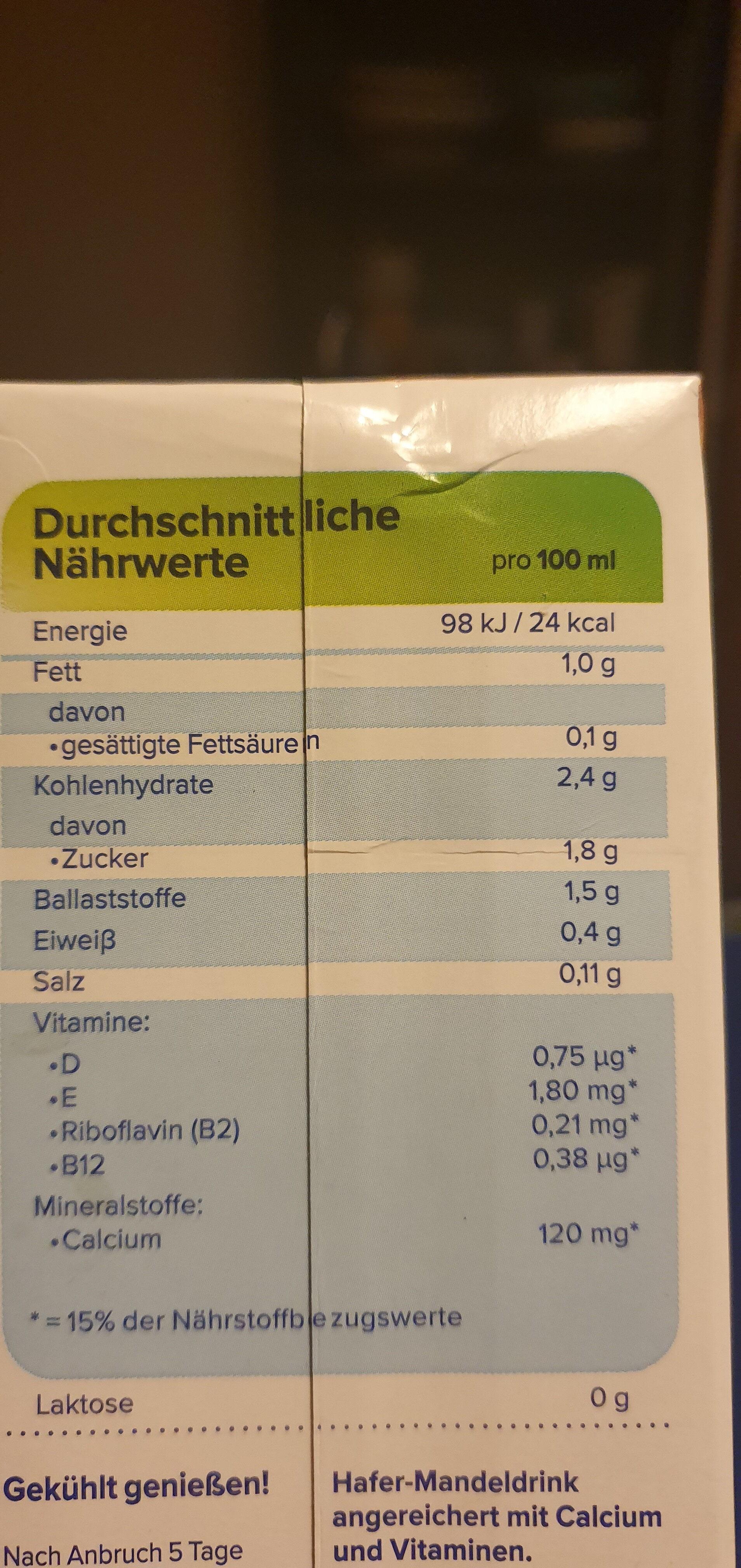 HaferMandel - Informations nutritionnelles