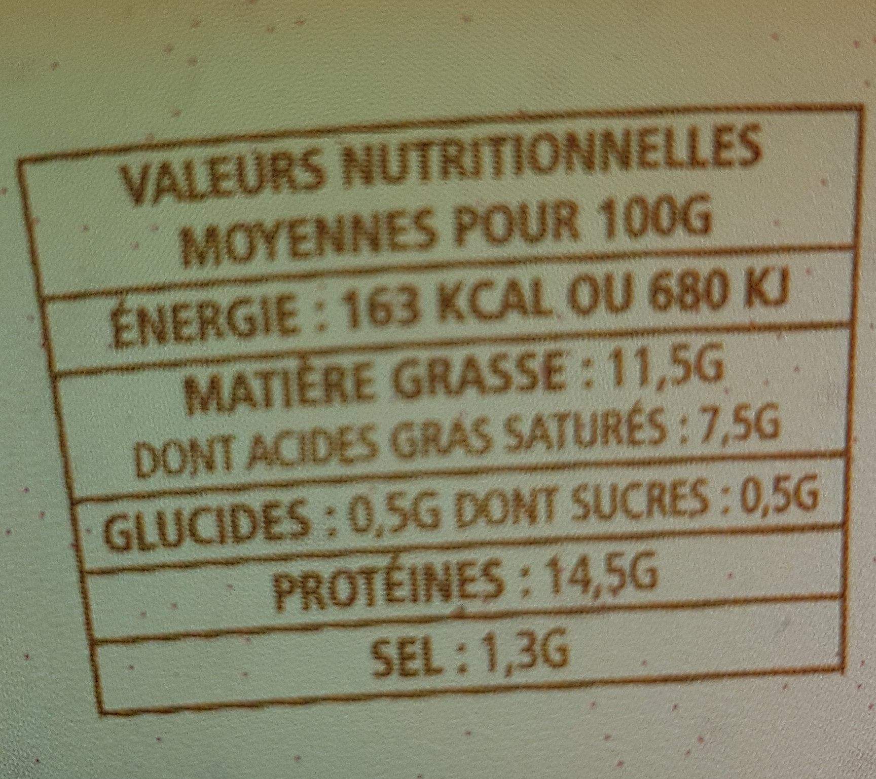 Cancoillotte au vin jaune - Informations nutritionnelles