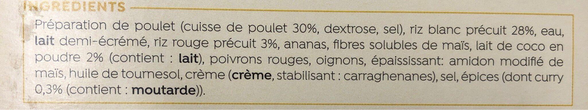 poulet curry - Ingrédients - fr