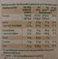 Risotto - Voedingswaarden - en
