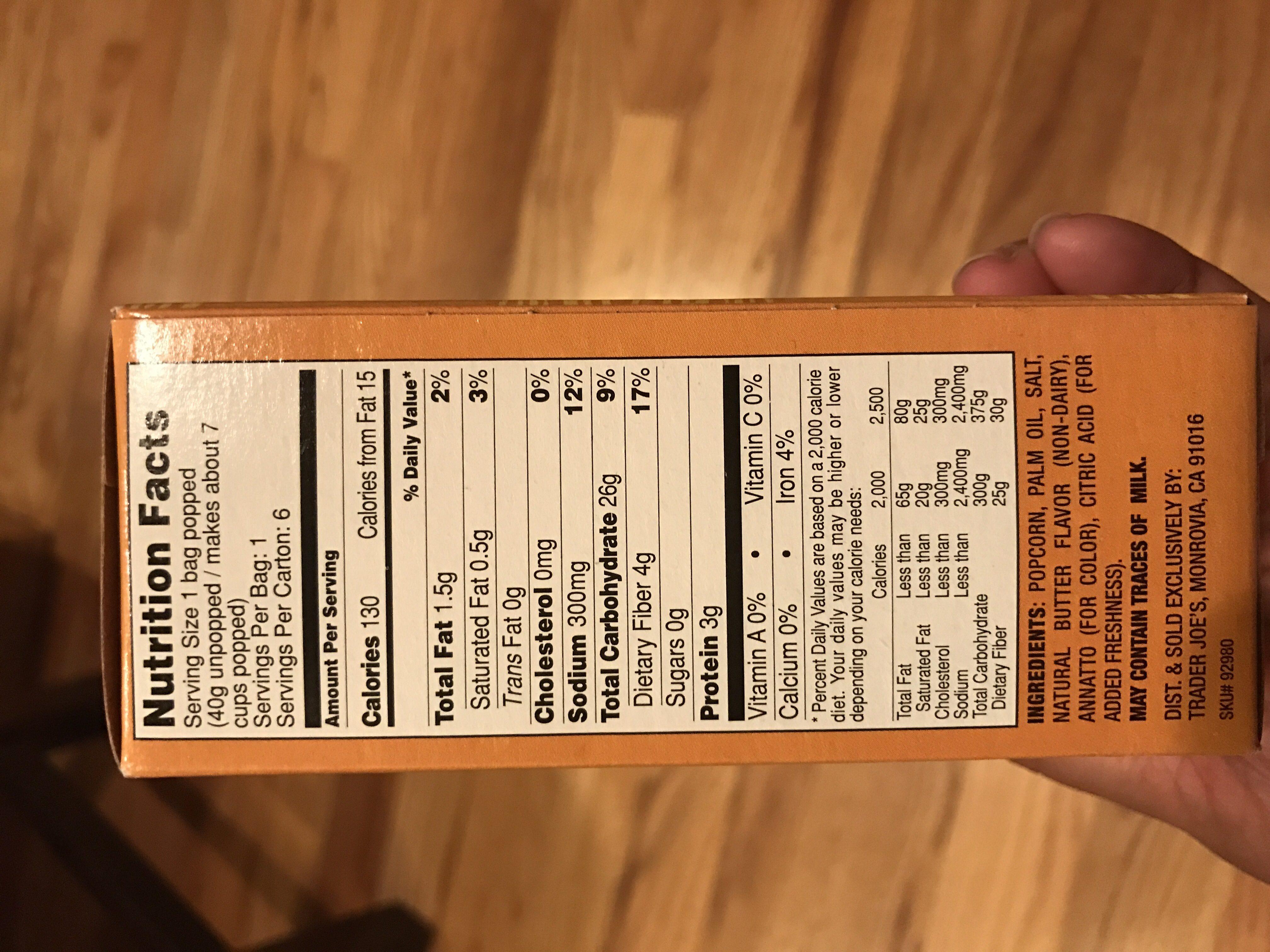Microwave Popcorn - Ingredients - en