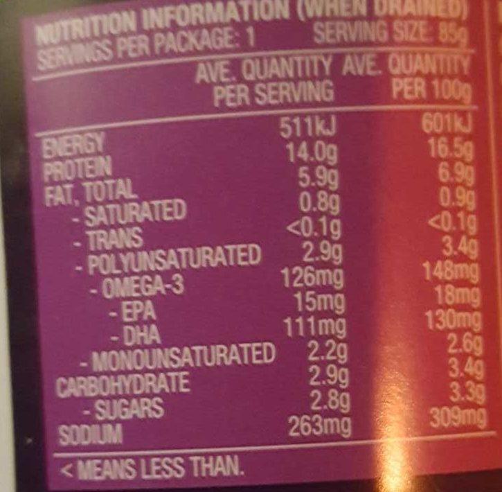 John West Street Asian Indonesian Sambal, Chilli & Tuna - Nutrition facts - en