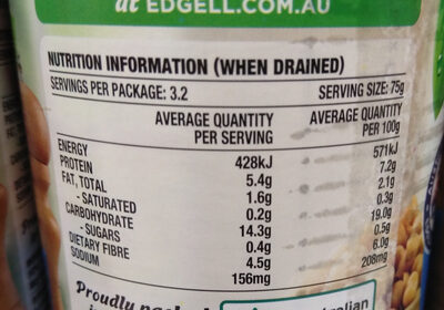Edgell Chick Peas - Nutrition facts