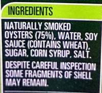 John West Smoked Oysters in Barbeque Sauce - Ingredients - en