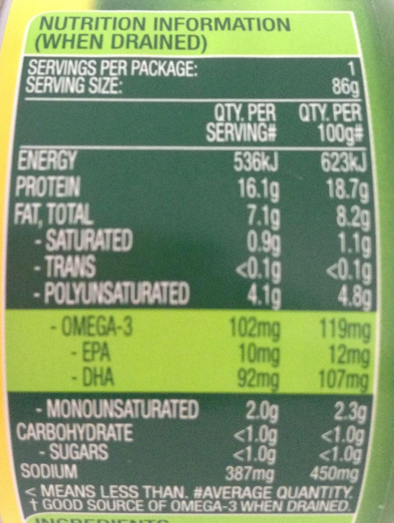 Tempters Tuna Lemon & Cracked Pepper - Nutrition facts - en