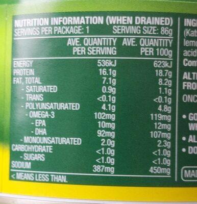 Lemon & Cracked Pepper Tuna - Nutrition facts - en