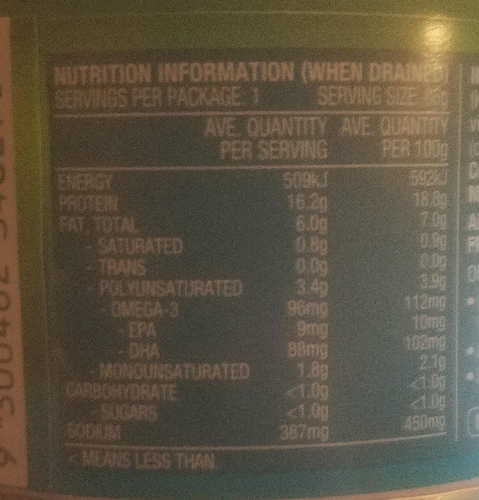 Tuna Tempters Zesty Vinaigrette - Nutrition facts - en