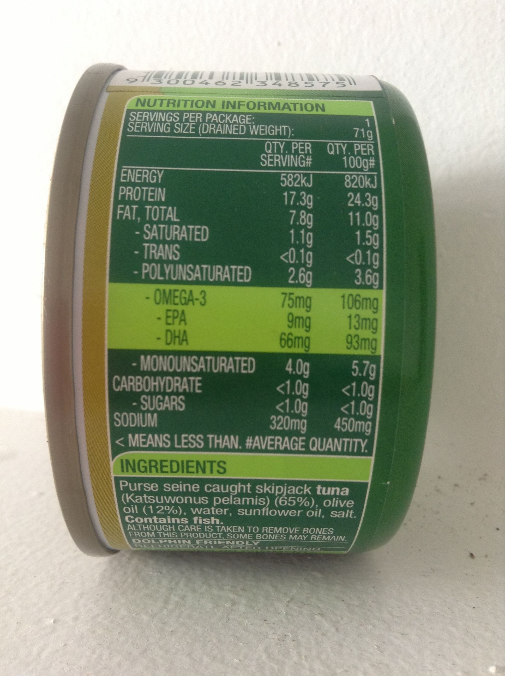 Chunk style tuna in olive oil blend john west 95g for Fish oil nutrition facts