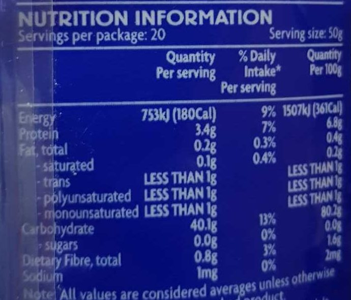 Riz - Nutrition facts