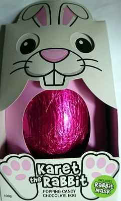 Karet the Rabbit Popping Candy Chocolate Egg with Mask - Product