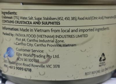 Seacrown Crab Meat in Brine - Ingredients - en