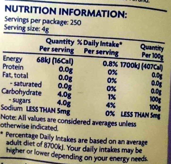 Australian White Sugar - Nutrition facts
