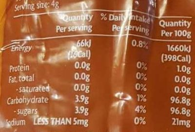 Coles Australian Brown Sugar - Nutrition facts