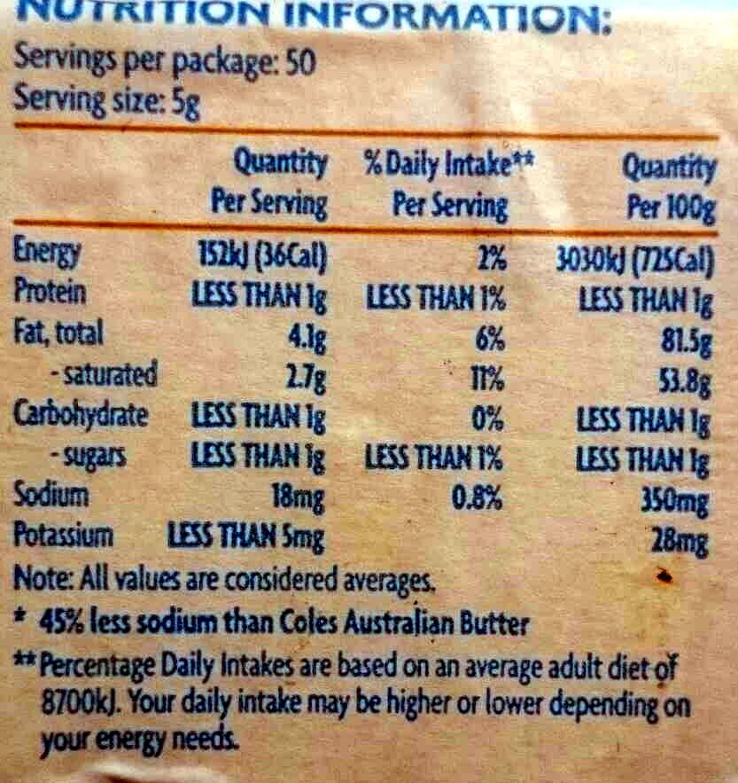 Australian Butter Salt Reduced - Nutrition facts - en