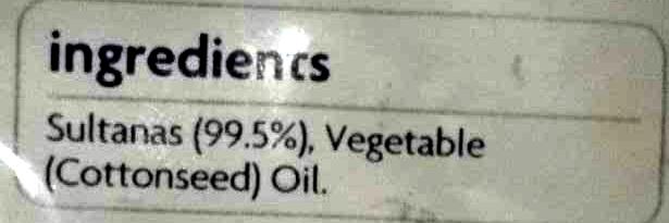 Sultanas - Ingredients - en