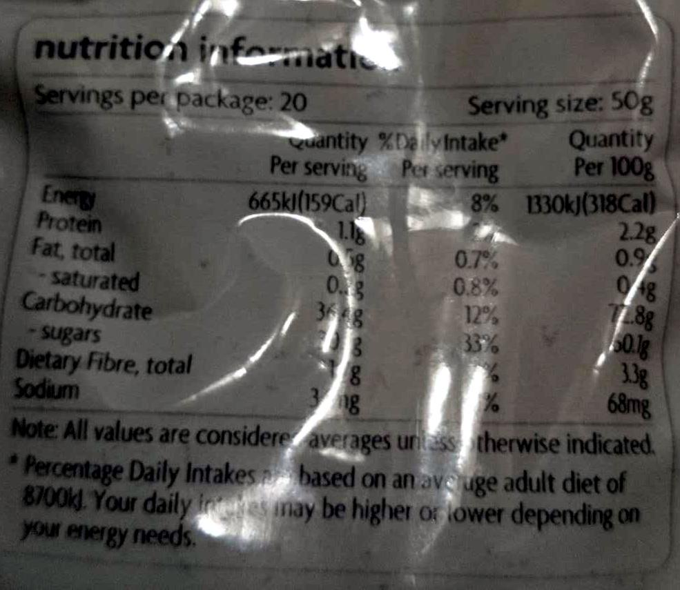 Sultanas - Nutrition facts - en