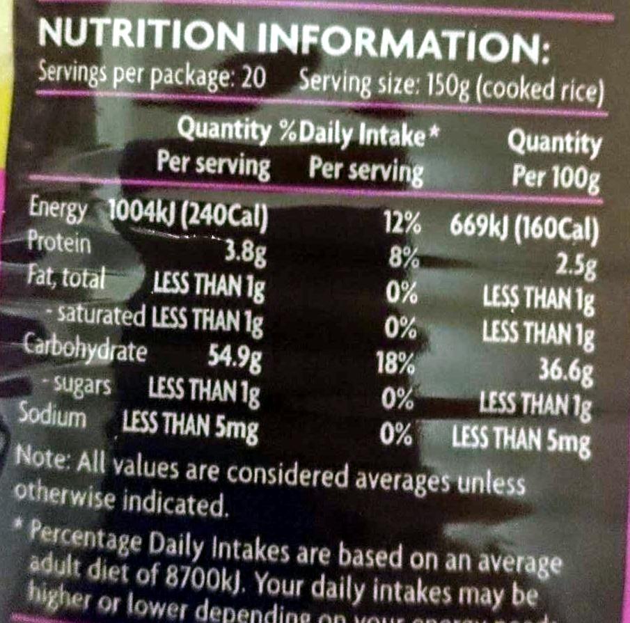 Jasmine Rice - Nutrition facts - en