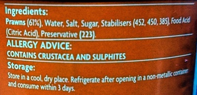 Coles Prawns in Brine - Ingredients
