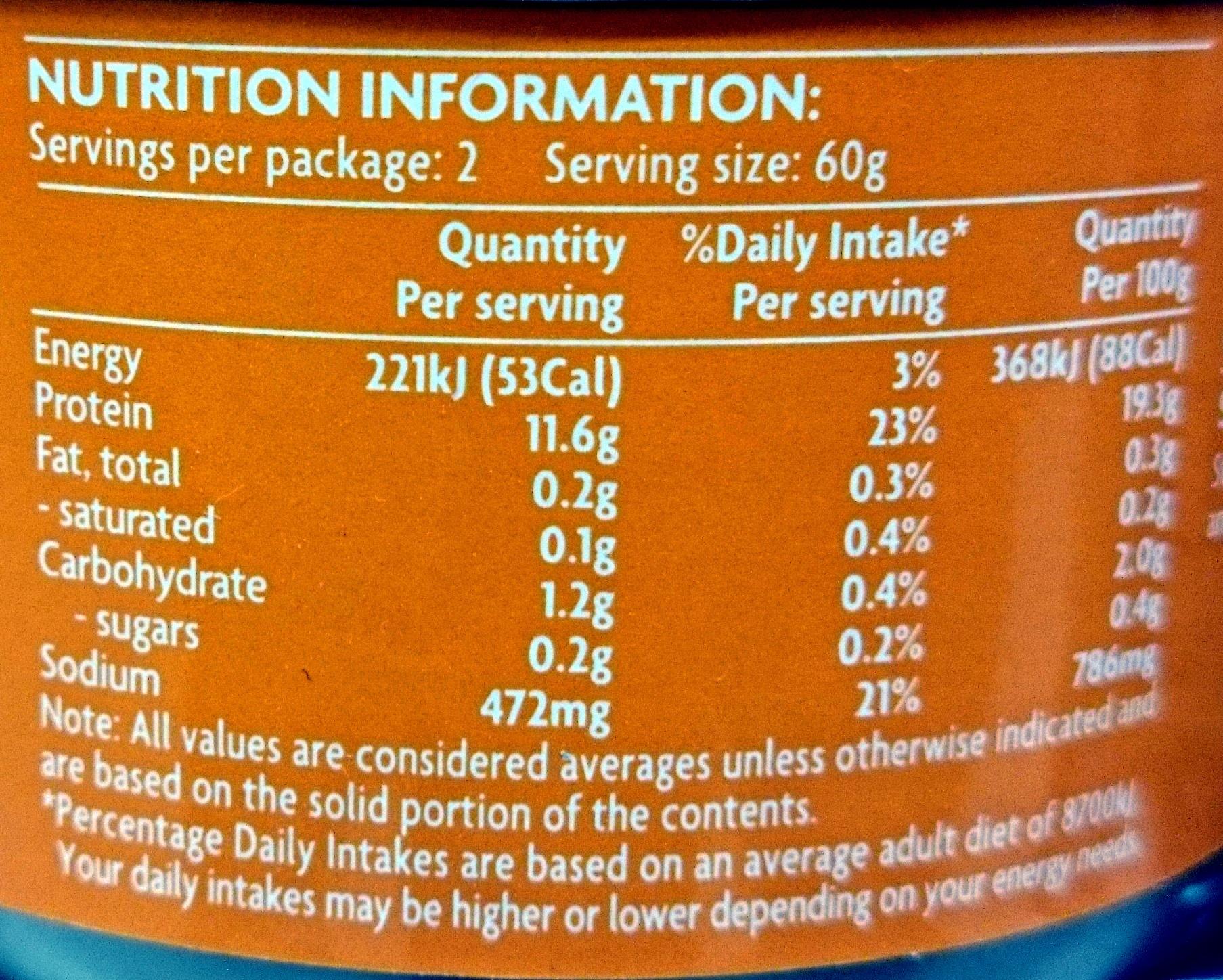 Coles Prawns in Brine - Informations nutritionnelles - en