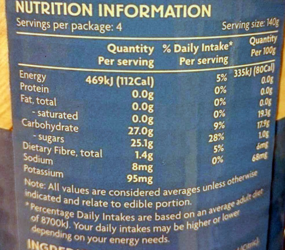 Whole Pitted Lychees - Nutrition facts - en
