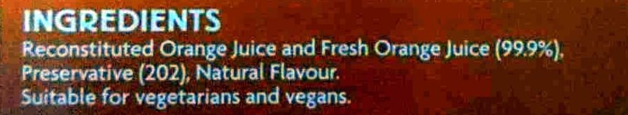 Orange Juice - Inhaltsstoffe - en