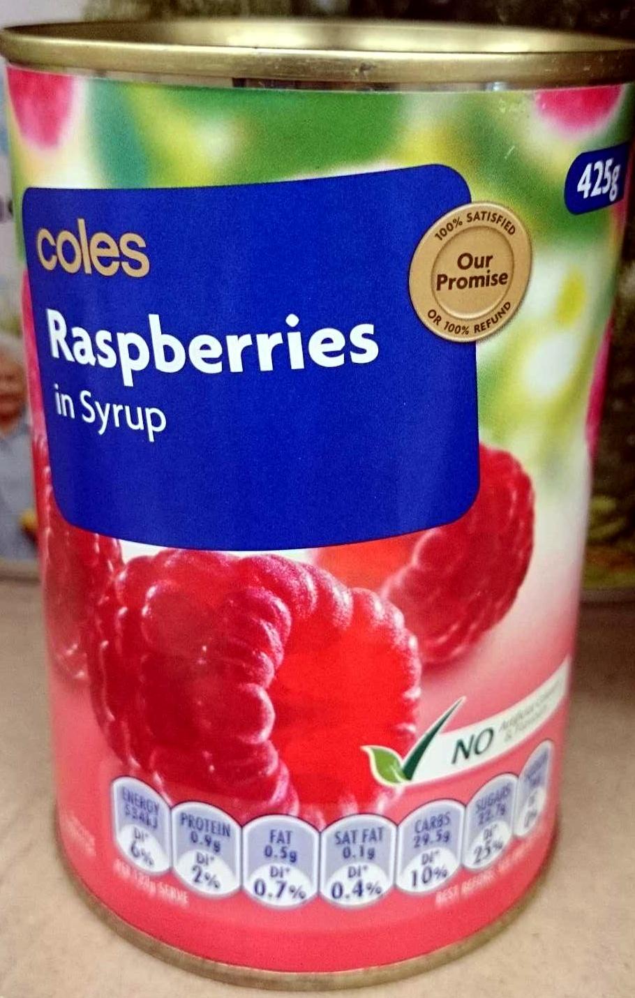 Raspberries in syrup - Product - en