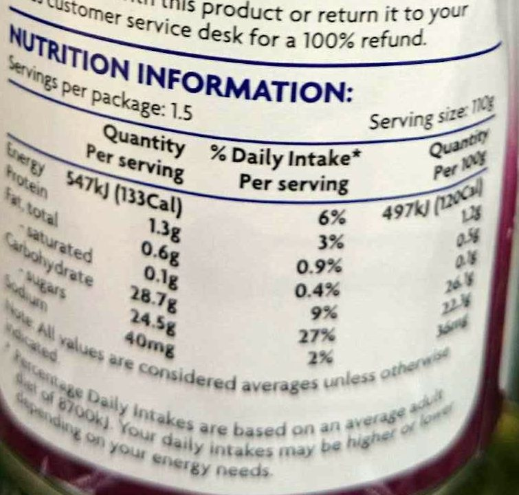 Passionfruit Pulp in Syrup - Nutrition facts - en