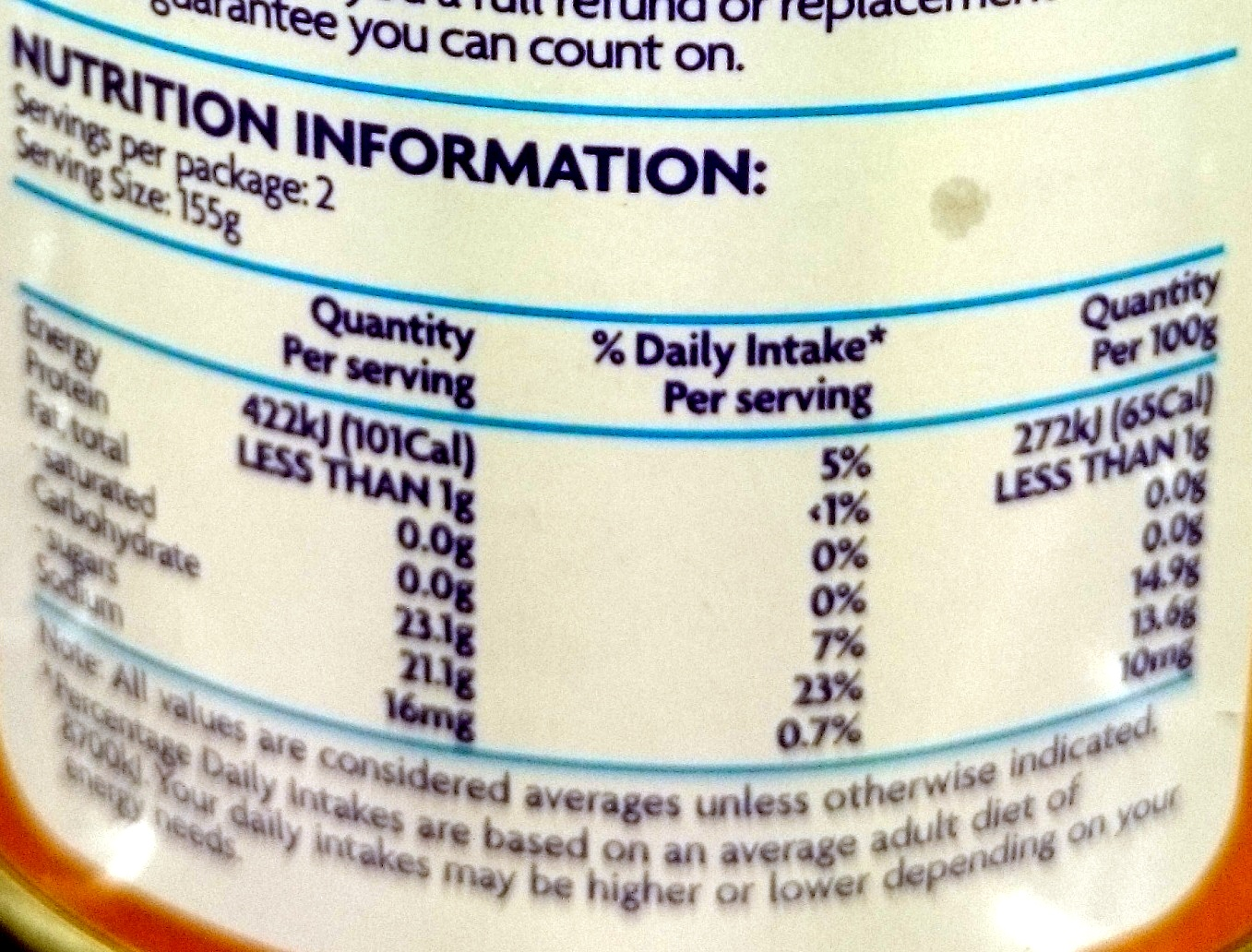 Coles Mandarin Segments in Syrup Canned - Nutrition facts
