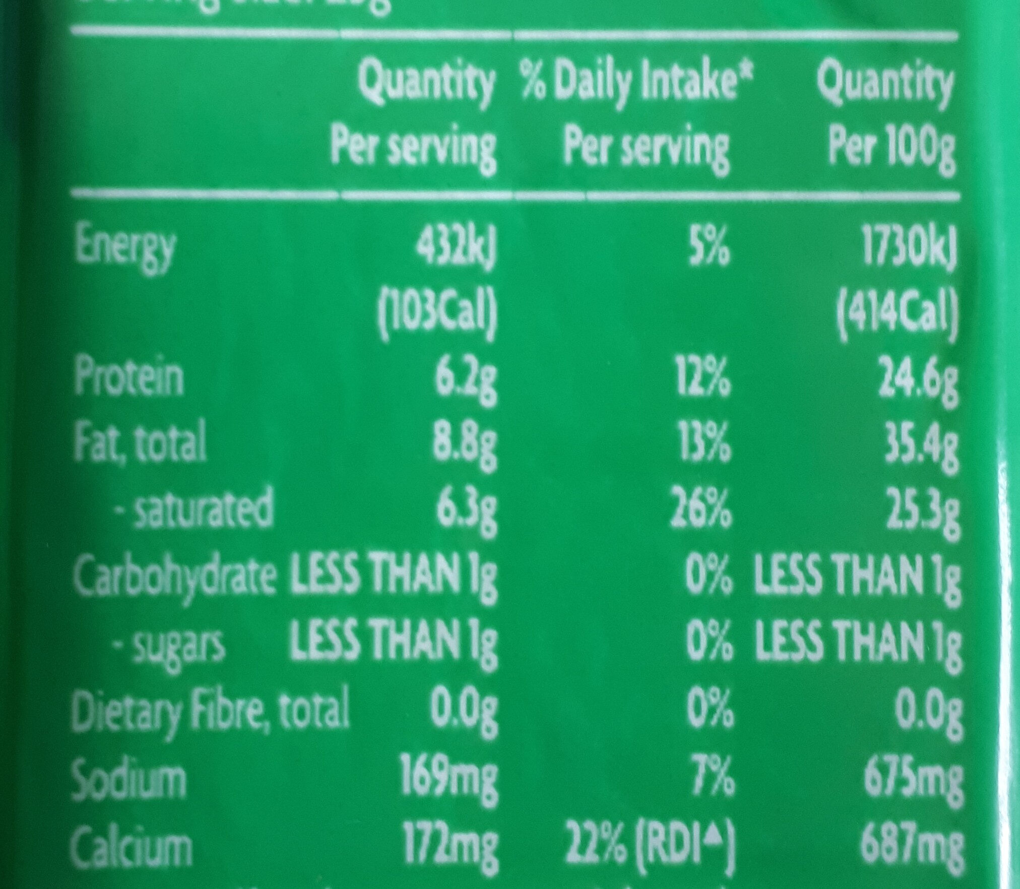 Tasty Cheddar - Nutrition facts - en