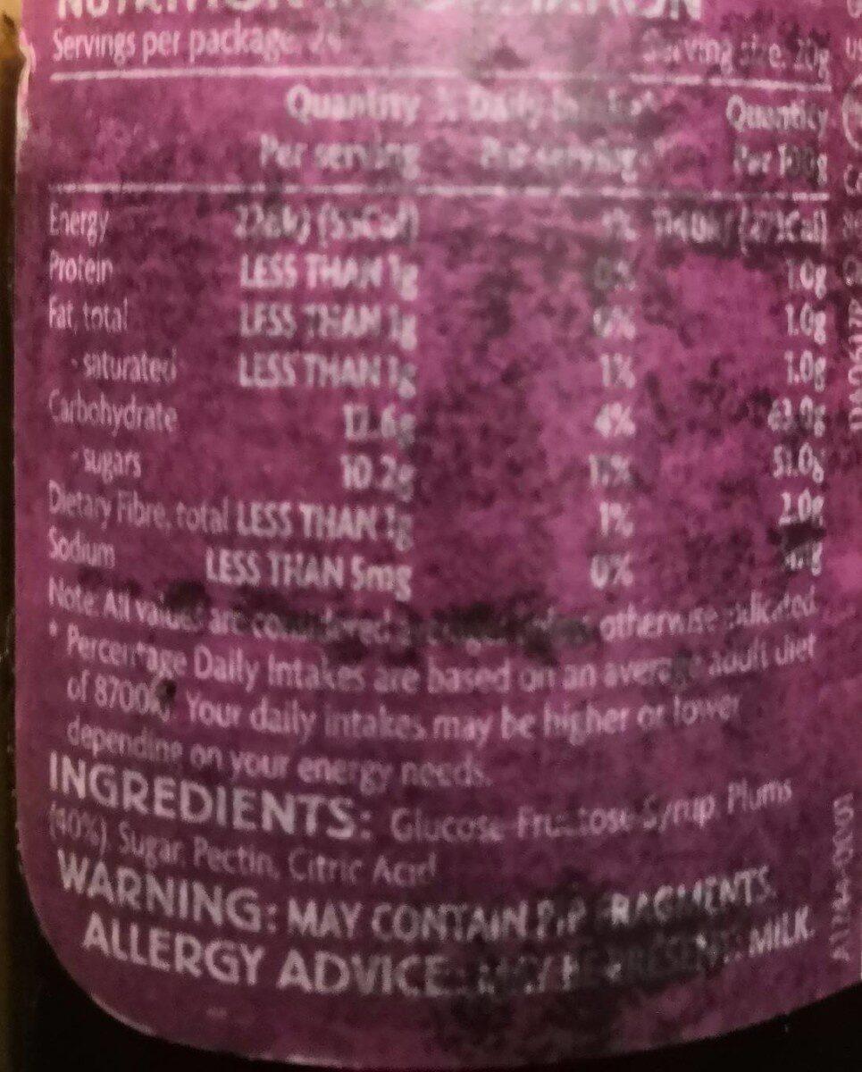 Plum jam - Nutrition facts - en