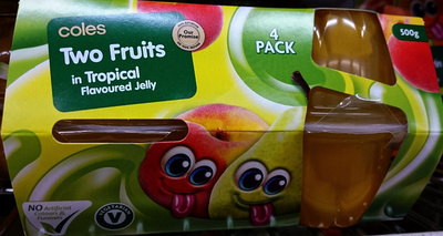 Coles Two Fruits in Tropical Flavoured Jelly - Product - en