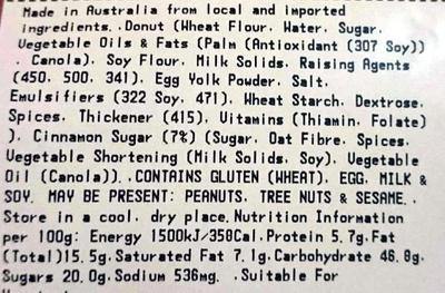 Cinnamon Donuts - Ingredientes