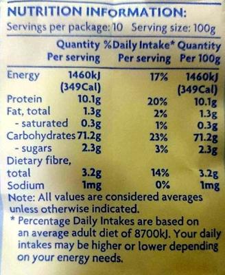 White Plain Flour - Nutrition facts - en